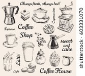 hand drawn set coffee... | Shutterstock . vector #603331070