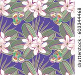 seamless floral pattern with... | Shutterstock . vector #603344468