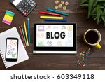 tablet with web icon  blog  on... | Shutterstock . vector #603349118