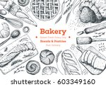 bakery top view frame. hand... | Shutterstock .eps vector #603349160