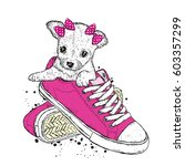 Stock vector a cute puppy with a bows sits in sneakers vector illustration beautiful dog 603357299