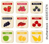 label for berries and fruits.... | Shutterstock .eps vector #603357374