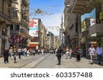 people on istiklal street in... | Shutterstock . vector #603357488