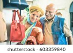 senior couple shopping at... | Shutterstock . vector #603359840