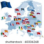 european country flags and map. ...