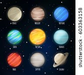 planets set with solar system... | Shutterstock .eps vector #603363158