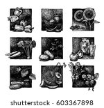 ink hand drawn set of... | Shutterstock . vector #603367898