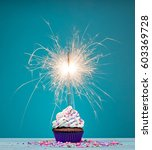 birthday cupcake with sparkler... | Shutterstock . vector #603369728