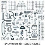 a set of monochrome steampunk... | Shutterstock .eps vector #603373268