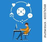 guy and global social media... | Shutterstock .eps vector #603376568