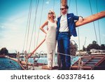 stylish wealthy couple on a... | Shutterstock . vector #603378416