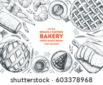 bakery top view frame. hand... | Shutterstock .eps vector #603378968