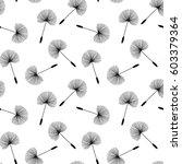 black dandelions seed floral... | Shutterstock .eps vector #603379364