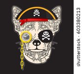 vector face of pirate dog with... | Shutterstock .eps vector #603380213