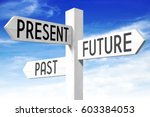 future  present  past   wooden... | Shutterstock . vector #603384053