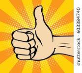 thumbs up gesture. vector. pop... | Shutterstock .eps vector #603384740