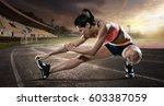 sport. runner stretching on the ...   Shutterstock . vector #603387059