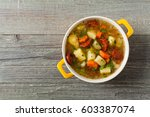 traditional potato soup. top... | Shutterstock . vector #603387074