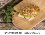healthy sandwich made with... | Shutterstock . vector #603390173