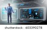 businessman in big data... | Shutterstock . vector #603390278