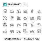 outline icons about transport.... | Shutterstock .eps vector #603394739