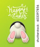 Stock vector text happy easter and white bunny bottom on green background vector illustration eps with 603397856