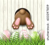easter motive  brown bunny... | Shutterstock .eps vector #603397859