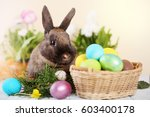 easter bunny and easter eggs on ... | Shutterstock . vector #603400178