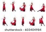 female dancer dancing spanish... | Shutterstock . vector #603404984