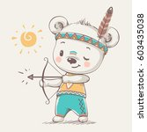 cute bear indian with a bow and ... | Shutterstock .eps vector #603435038