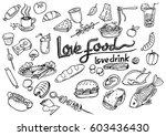 love food love drink concept... | Shutterstock .eps vector #603436430