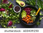 quinoa salad in bowl with... | Shutterstock . vector #603439250