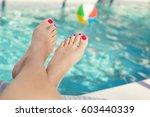 beautiful sexy female feet... | Shutterstock . vector #603440339