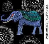 embroidery elephant artwork for ... | Shutterstock .eps vector #603443156