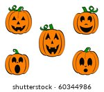 Stock vector set of five carved pumpkins jack o lanterns with different expressions 60344986