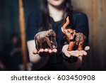 Elephant Figurine. Small Woode...