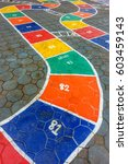 hopscotch game painted on the... | Shutterstock . vector #603459143