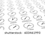 round clocks are showing... | Shutterstock . vector #603461993