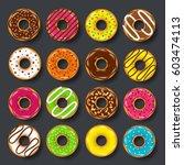donut  begel with cream.... | Shutterstock .eps vector #603474113
