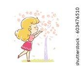 cute girl in pink dress enjoy... | Shutterstock .eps vector #603476510