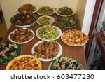 a nice party with food | Shutterstock . vector #603477230