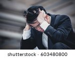 asian businessman sad worry... | Shutterstock . vector #603480800