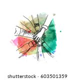 unity of hands sketch vector... | Shutterstock .eps vector #603501359