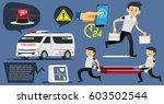 emergency concept. volunteer to ... | Shutterstock .eps vector #603502544
