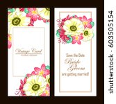 invitation with floral... | Shutterstock .eps vector #603505154