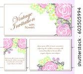romantic invitation. wedding ... | Shutterstock . vector #603505994