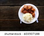 happy meal  rice and fried... | Shutterstock . vector #603507188