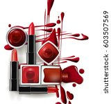 red nail polish drops in with... | Shutterstock .eps vector #603507569