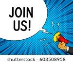 join us internet banner speech... | Shutterstock .eps vector #603508958