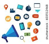 digital marketing and social... | Shutterstock .eps vector #603512468